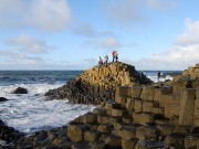 What made the creationist footprints in the Giant's Causeway visitor centre?