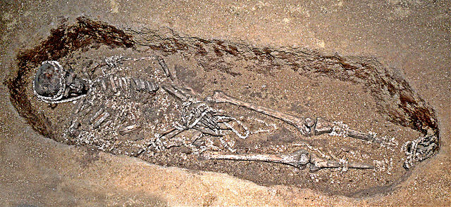 A lavish male burial of the Upper Palaeolithic, Sungir. Image Source: Wikimedia Commons.
