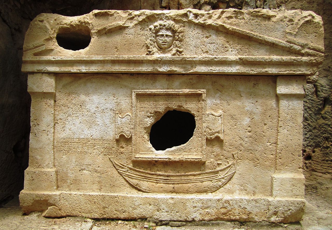 Archaeology in Olypos, here a sarcophagus, escaped fire damage because of the FIRESENSE project. Image source: Wikimedia Commons.