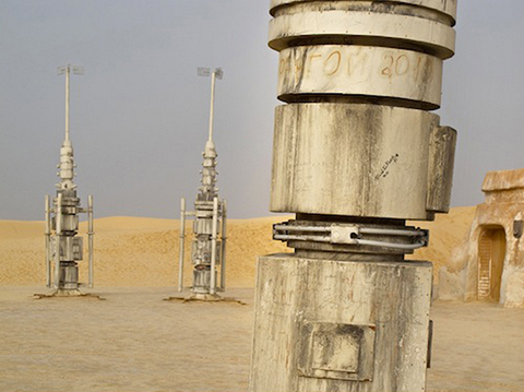 Moisture vaporators stand like monoliths in the desert. Image courtesy of R di Martino.