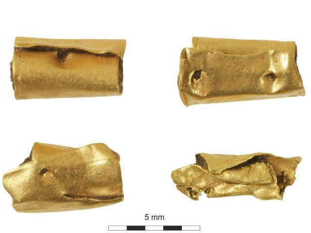 Gold beads found with the 'woman of importance' in Kingsmead quarry, Berkshire. Photograph: Wessex Archaeology