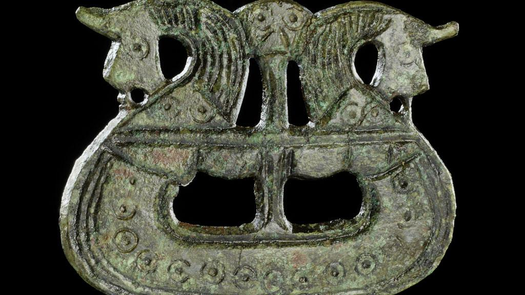 A brooch shaped like a ship, from the British Musuem Viking exhibition collection. Photograph: British Museum