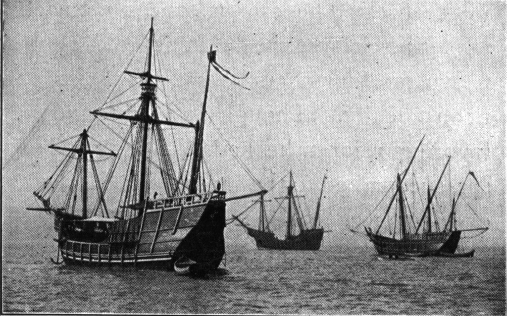 Replicas of the Caravels Pinta, Niña and the carrack Santa Maria. Lying in the North River, New York. The two caravels and the carrack which crossed from Spain to be present at the World's Fair at Chicago, 1912. Image Source: Wikimedia Commons.
