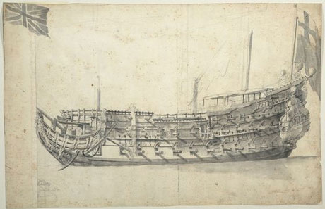 The HMS London. Picture courtesy National Maritime Museum.