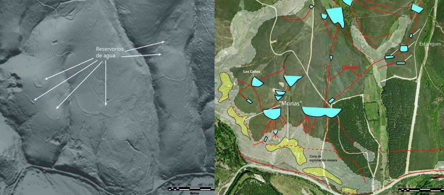 Caption: These are ancient goldmines in the Eria river valley, with channels and reservoirs for exploitation. The model generated with LiDAR data (left) allows these structures to be located on aerial photos (right).  Credit: J. Fernández Lozano et al.