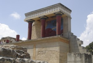 Minoan Palace of Knossos, Crete. Image Source: Wikimedia Commons.
