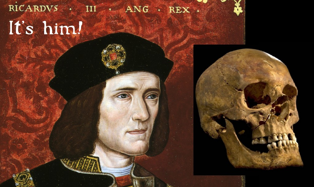 Richard III's portrait compared with a photograph of the skull found in Leicester: Portrait source: Wikimedia Commons. Skull image courtesy of Leicester University.