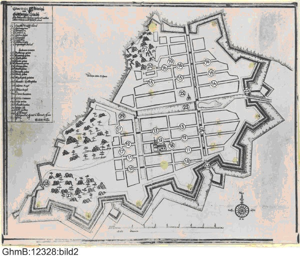 Picture 4  Map over Gothenburg from 1644, showing the perpendicular curtains and the moat. Map made by Kiättel Klason, archived by and copyright Gothenburg City Museum
