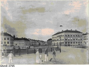 Picture 8 Kungsport in year 1850 without the walls and gate Picture made by unknown painter, archived by and copyright Gothenburg City Museum