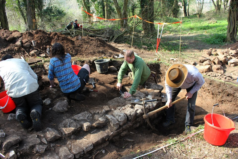 Operation Nightingale participants at work on a hypocaust at the Roman site in Caerwent [Picture: Crown copyright]