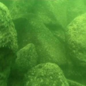 An underwater photo shows the structure is made of basalt boulders. Photo: Shmulik Marco.