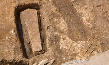 A stone coffin found at an archaeological site in Leicester. Photograph: University Of Leicester/EPA