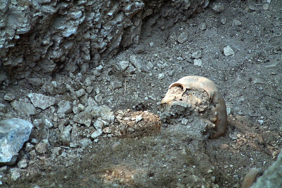 Human remains uncovered by Project Nightingale. Credit: Crown Copyright.