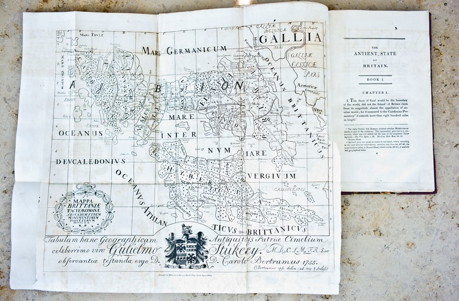 An illustration published by William Stukeley, drawn by Charles Bertram, purporting to be a Roman map of Britain. Photograph: Sarah Lee for the Guardian