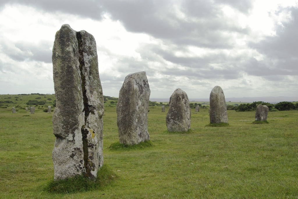 The prehistoric stone circles known as the Hurlers, Bodmin Moor, near Minions, Cornwall. Image Source: Wikimedia Commons.