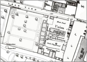 The 1856 Ordnance Survey map of the area, showing the work house. The building marked 'Old Hall' is part of the medieval Palace, and the buildings to the left are the early 19th century workhouse, the walls of which are visible in the excavation. Image Courtesy of ASDU