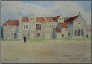 A painting of the Bishop's Palace from 1764, showing its east side, with the chapel to the right. Image Courtesy of ASDU