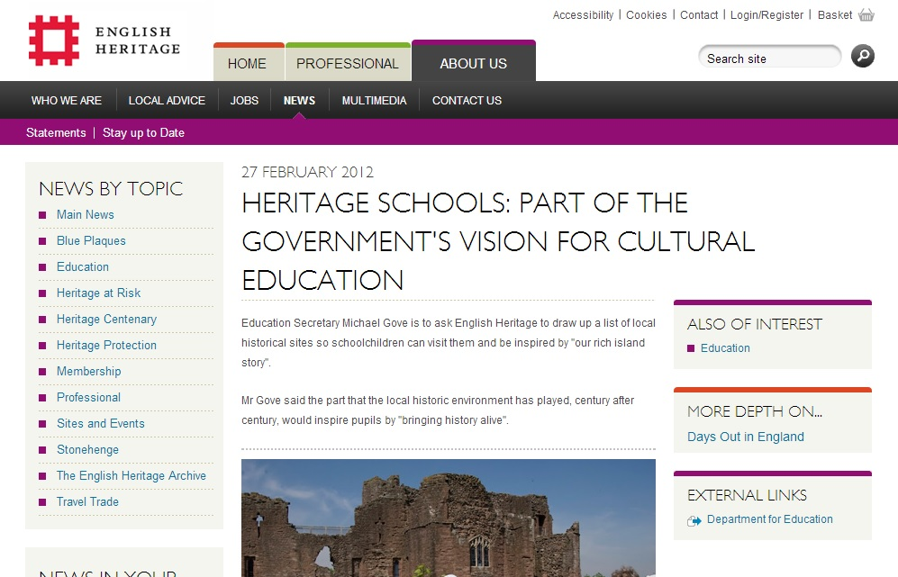 English Heritage's, Heritage Schools Project.