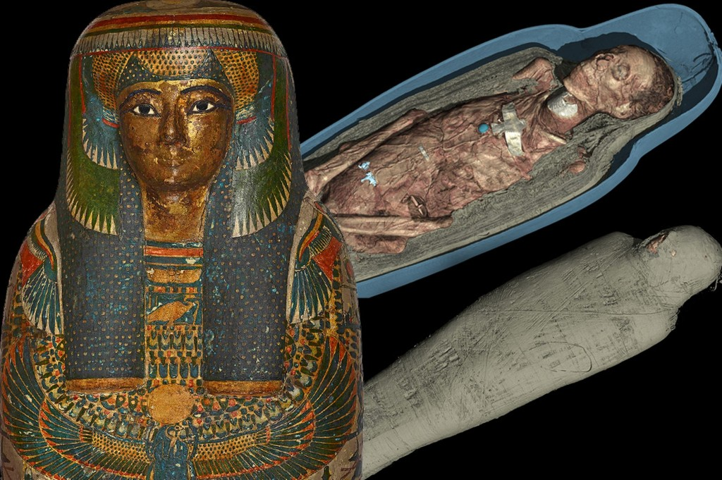 Living for ever … a CT scan 3D visualisation of the mummified remains of Tayesmutengebtiu, also called Tamut. Image Source: Wikimedia Commons.
