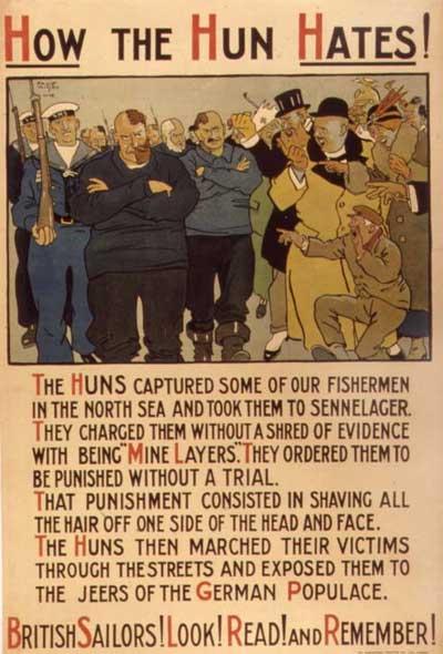 How the Hun Hates - British Propaganda poster