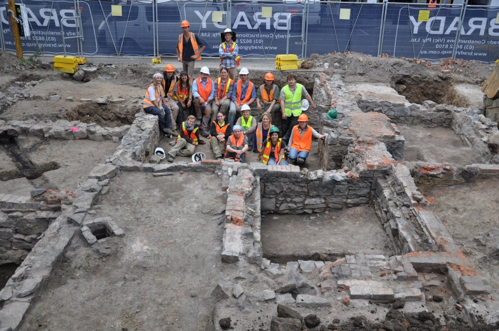 Archaeologists together on site. Image courtesy of Rhys Booth.