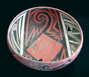 This is a Pinedale Polychrome bowl from the Bailey Ruin, A.D. 1275-1325. This type of vessel was made during the megadrought that hit the Southwest from A.D. 1276-1299. The distribution of this type outside of its area of production was one of the ways that people kept connected during and after the drought: Barbara Mills/University of Arizona